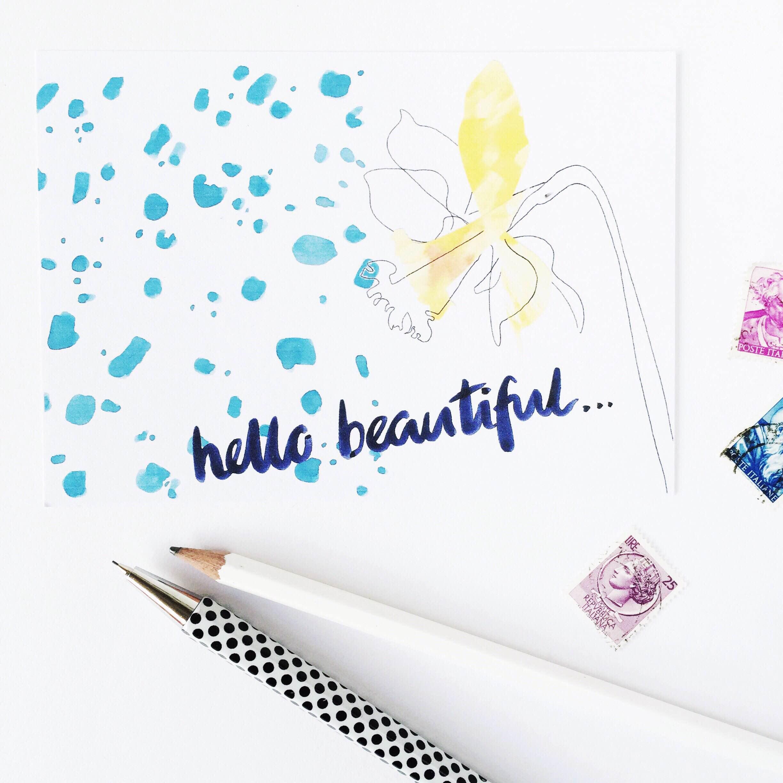 hello beautiful postcard
