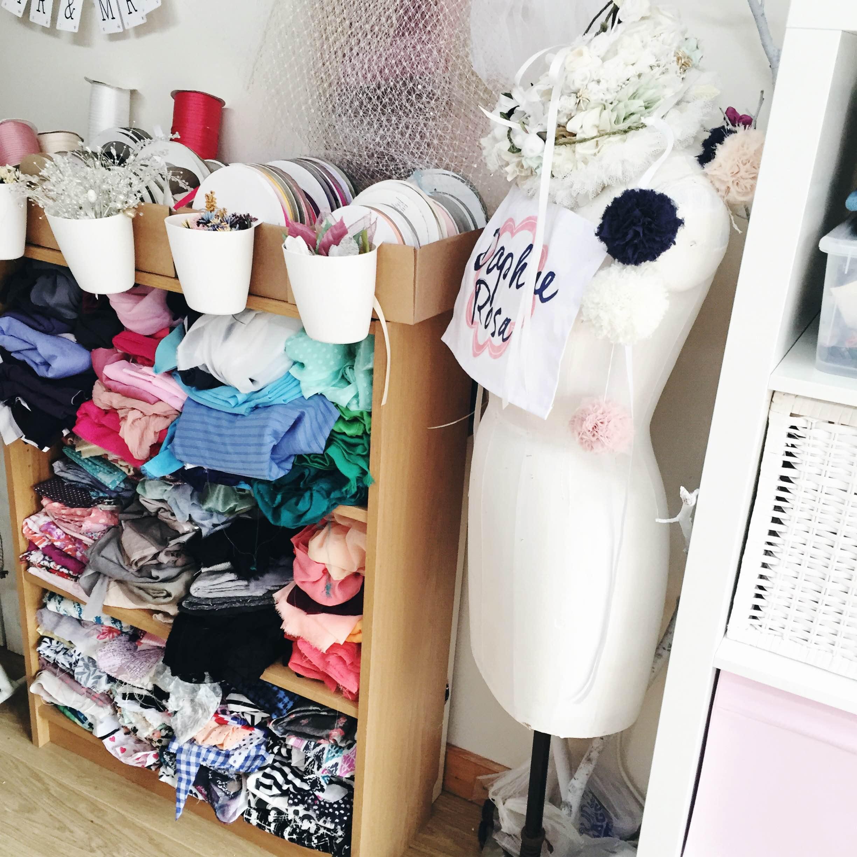 fabric storage in studio
