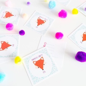 fantastic crafty fox business cards pom poms