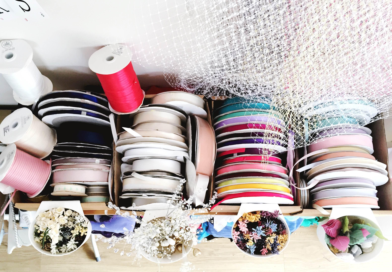 ribbon storage in studio