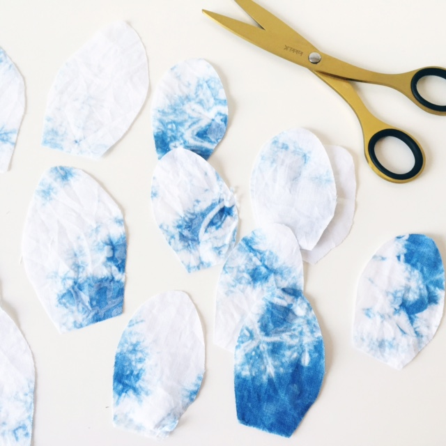 shibori dyed fabric petals