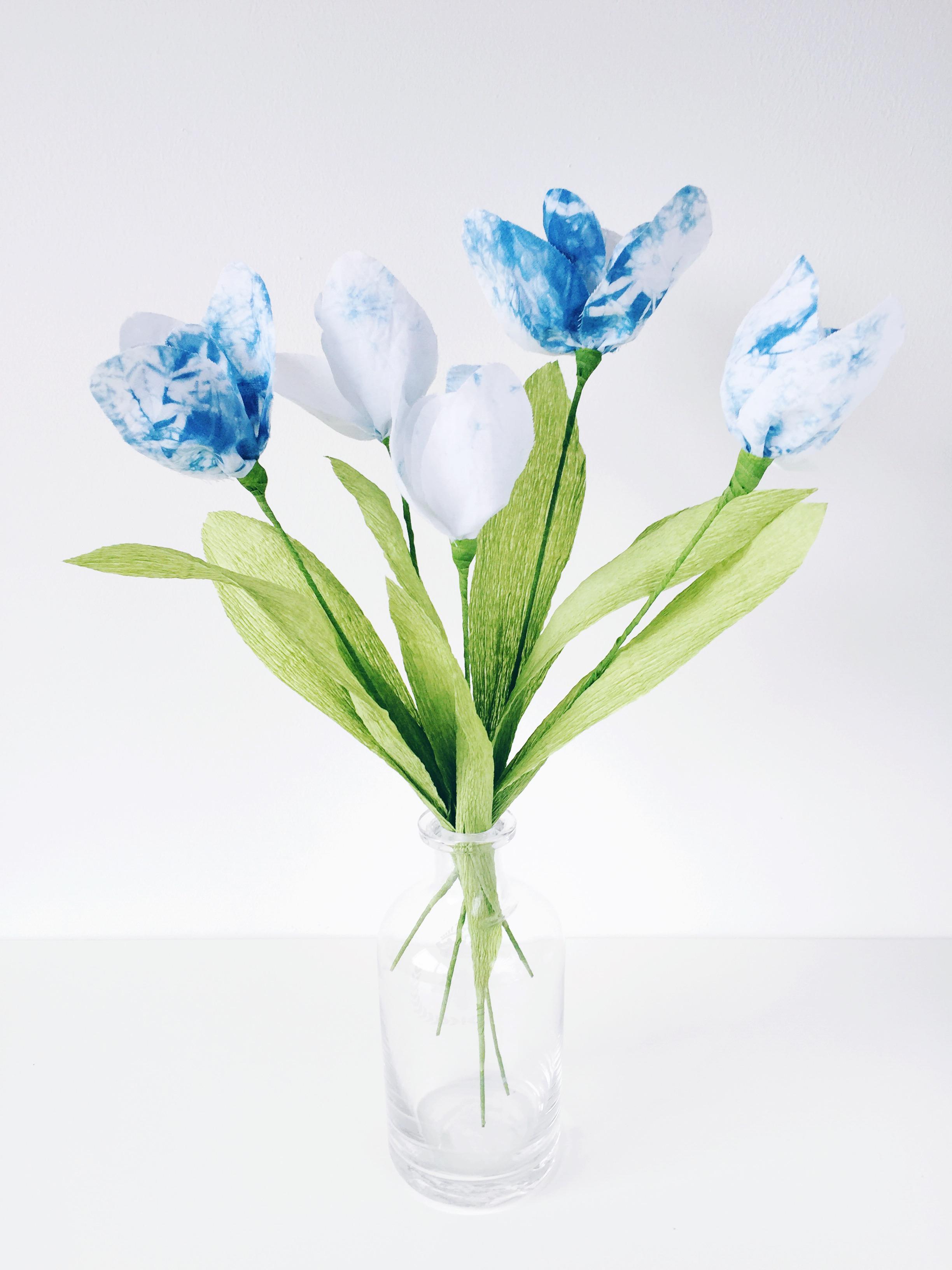 shibori dyed handmade fabric tulips3