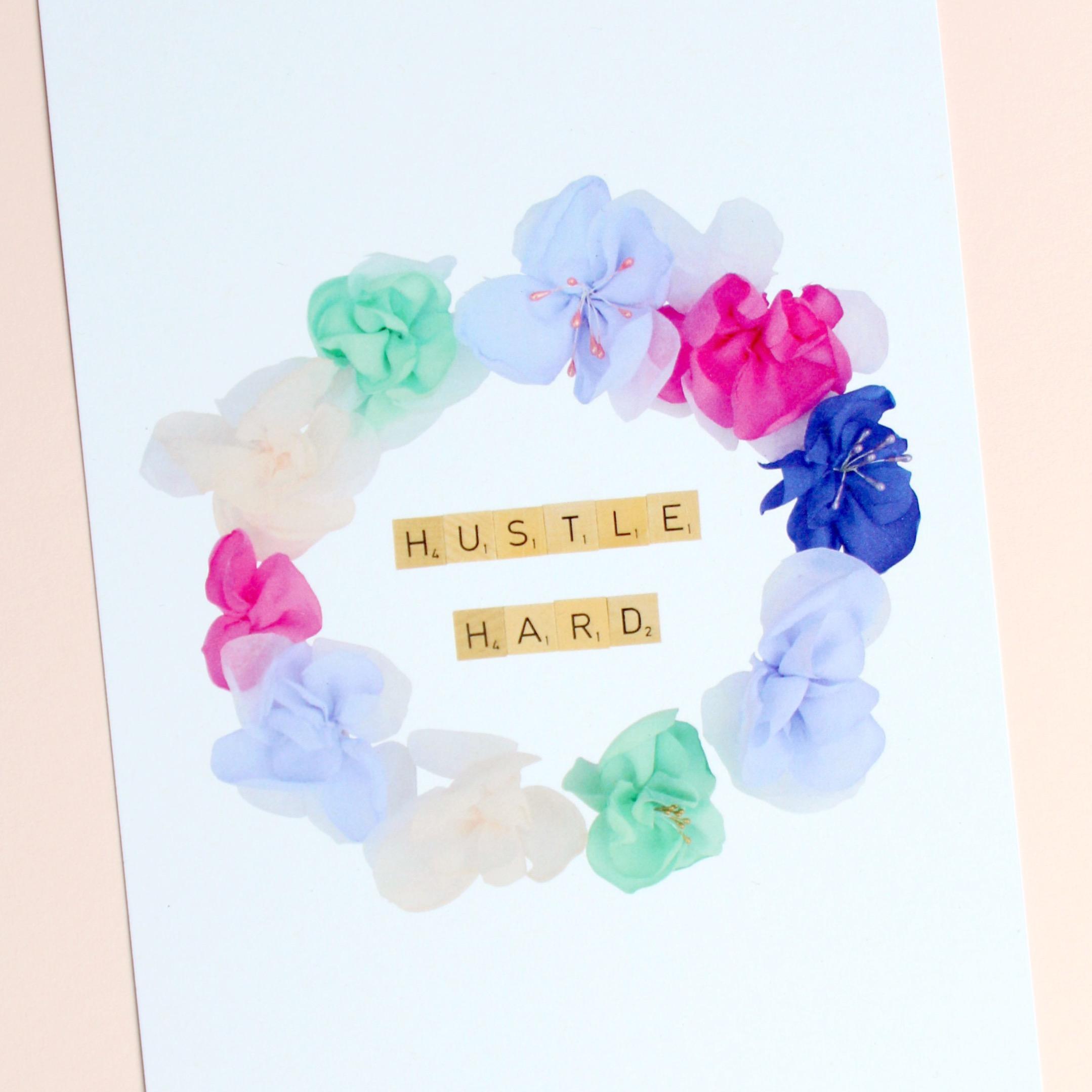 Hustle Hard Motivational print pink background