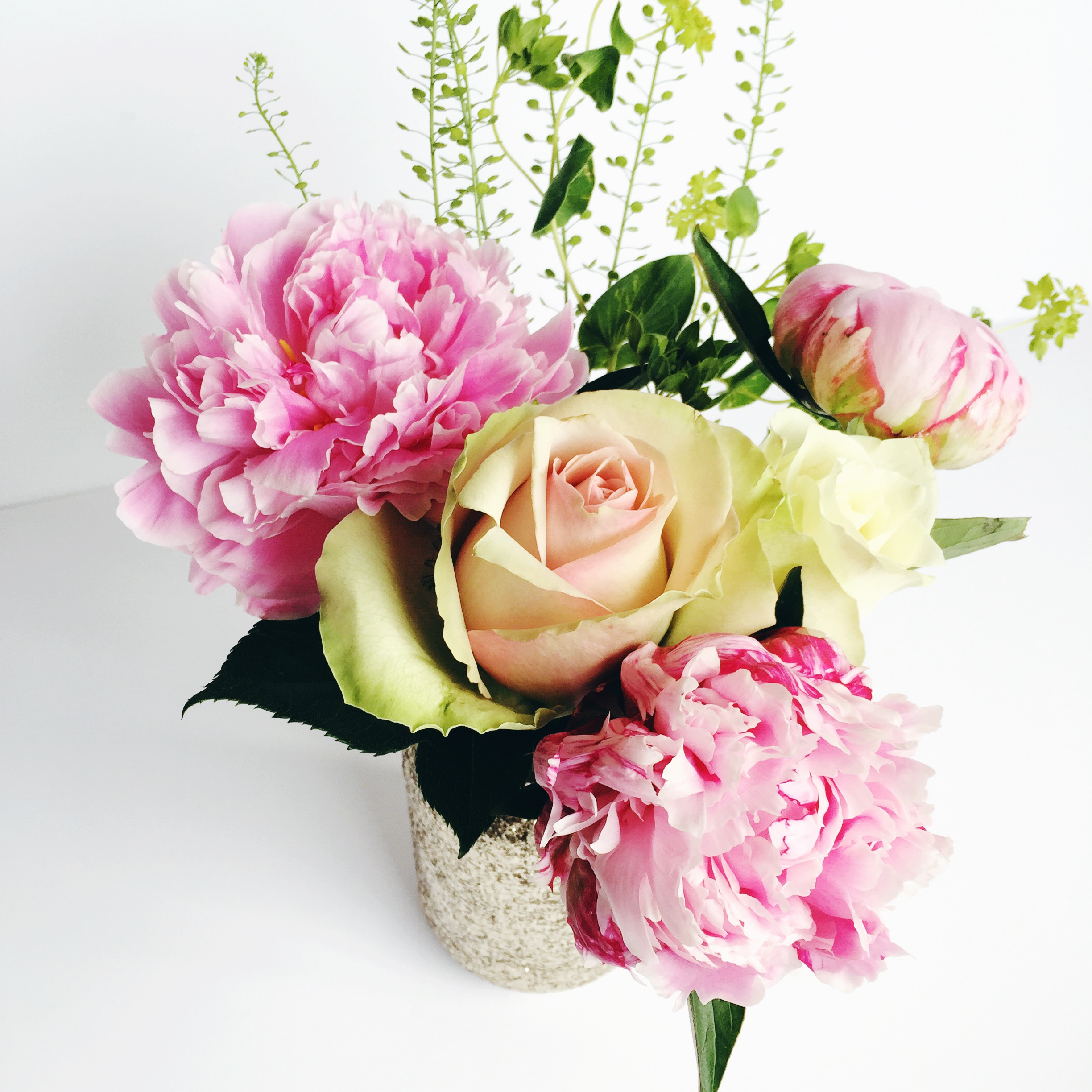 peonies in glitter jar